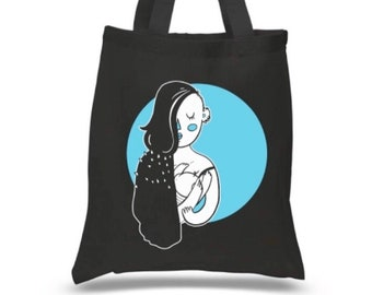 Weird Mom Breastfeeding / Black or Navy Canvas Tote Bag
