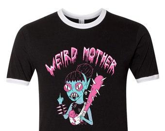 Weird Moth Scary Mommy, s-2xl, unisex ringer shirt.