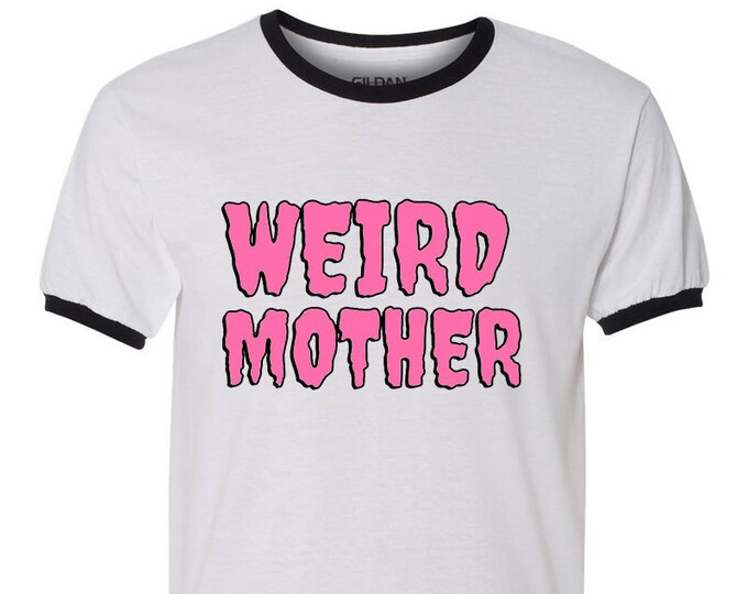 Pink and Black Weird Mother Drippy Font Logo ringer, white and black ringer unisex sizing