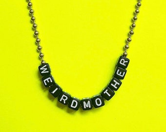 Weird Mother Black Block and Ball Chain necklace