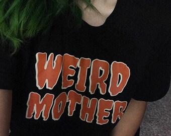 Halloween Variation Weird Mother Logo on a black shirt