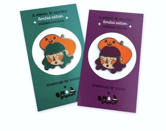 Pumpkin Beret Girl, drawings by nicole and em and sprout mash up pin.
