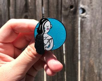 Breastfeeding Punk Mom Holding Baby Hard Enamel Pin