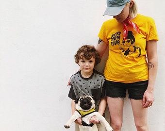 Mustard / Gold Weird Mom Club Design on unisex shirt