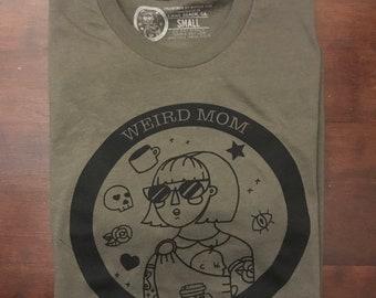 Weird Mom Club circle logo shirt, black ink on olive unisex soft spun shirt.