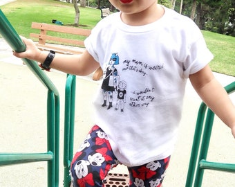 """Black and Blue Toddler Shirt, """"My mom is weird, but that's okay..."""""""