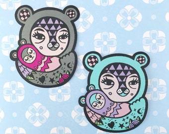 Ted + Kip Collab Patches, iron on, 3 inches in size