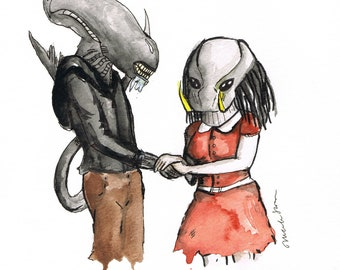 Alien Loves Predator, 8.5 x 11 inch inkjet print art painting Valentine's Day