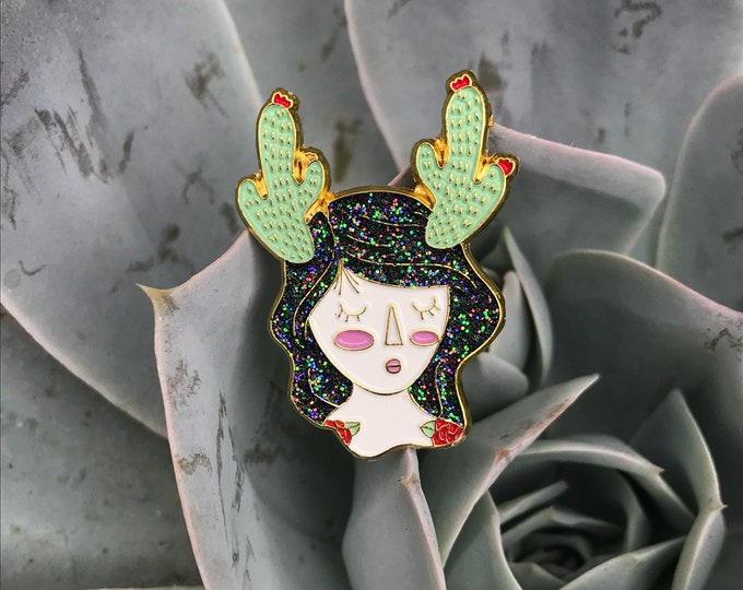 Cactus Prickly Girl with flowers, Soft enamel pin. Succulent. Pink or Black hair. Tattoos.