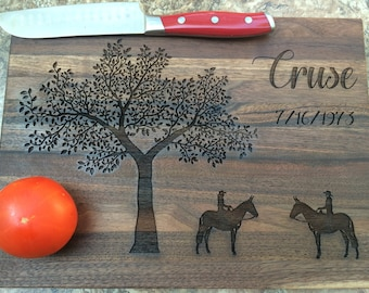 Personalized Mule Rider Cutting Board, Personalized Wedding Gift, Anniversary Gift, Personalized Gifts, Housewarming Gift