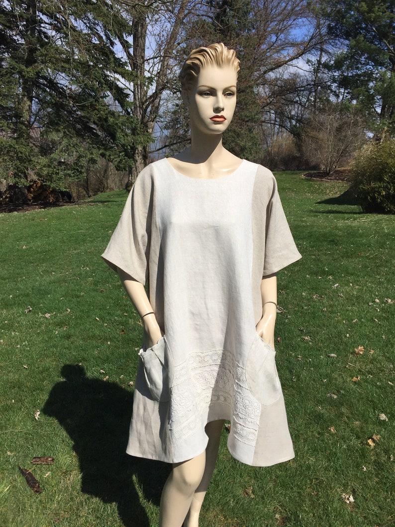 0b3a0382ebb Linen Sundress Womens plus size Neutral pure linen dress