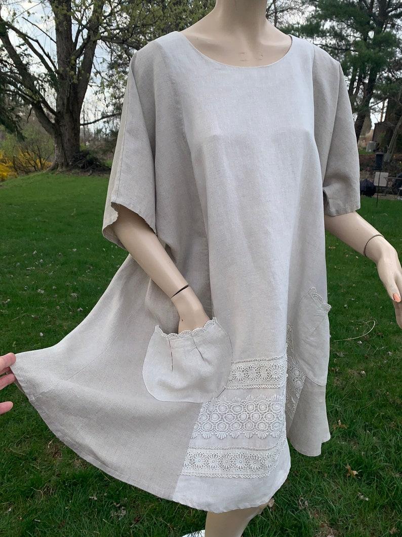 f868b2a80f5 Linen sundress womens plus size neutral pure linen dress