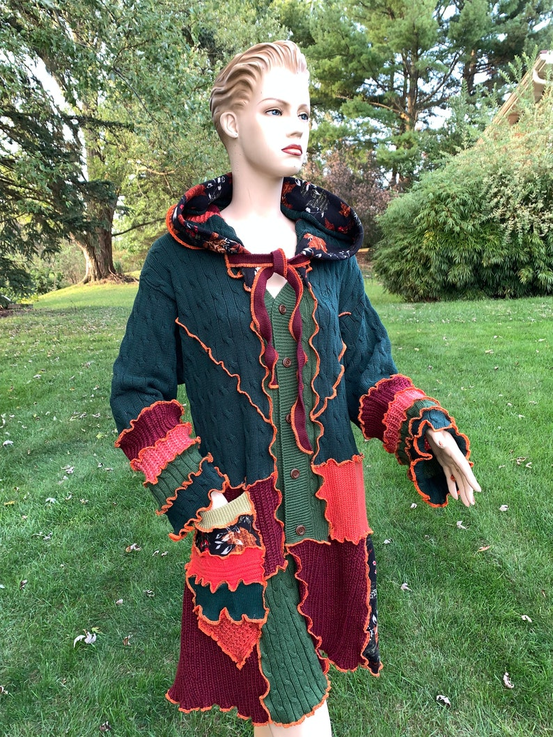Aesthetic Upcycled Festival Jacket Handmade by DbN XL Patchwork Hooded Sweater Coat Plus Size Clothing Wool-Free Sweater Jacket