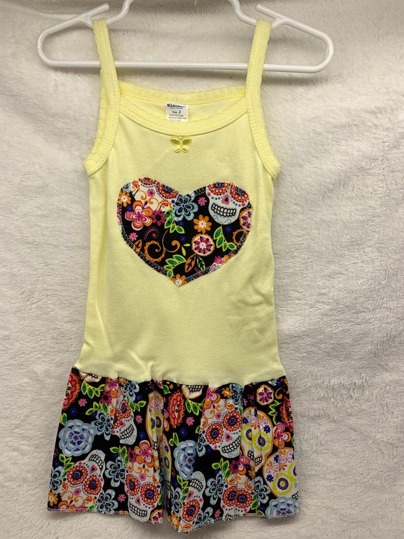 Little Girl Dress with ruffle Sugar Skulls