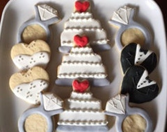 Bride and Groom - Wedding Cake - Diamond Ring - Engagement Cookies