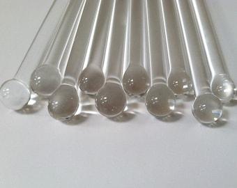 Swizzle Sticks, Glass Swizzle Sticks, 10 Borosilicate Boro Sticks, Glass Rods, Swizzle Sticks