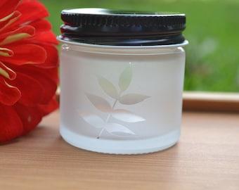 Glass Jar, Sand Etch Glass Jar, Mini Jar, Mini Glass Jar, Leaf Jar, Stash Jar, Spice Jar, Leaf Glass Jar, Leaves, Matte Finish Jar
