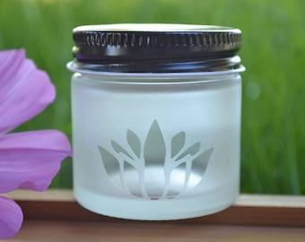 Glass Jar, Sand Etch Glass Jar, Mini Jar, Mini Glass Jar, Lotus Jar, Stash Jar, Spice Jar, Lotus Glass Jar, Lotus, Matte Finish Jar