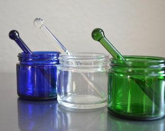 Cosmetics Jar, Glass Jar, Small Glass Jar, Jar with Applicator, Jar, Little Glass Jars, Jar with Stir Stick, Blue Glass Jar, Glass Jar