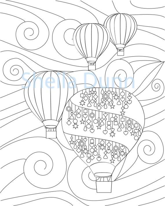 Globos de aire caliente para colorear página 8 x | Etsy