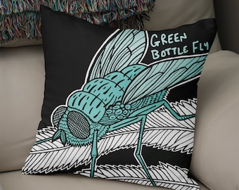 Green Bottle - Illustrated Insect Cushion