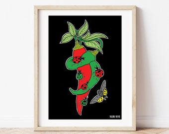 Mexican Independence Day (Ladybirds and Chillis) - Giclee Print (Unframed)
