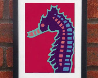 Sea Horse - A5 original oil pastel drawing (Framed)