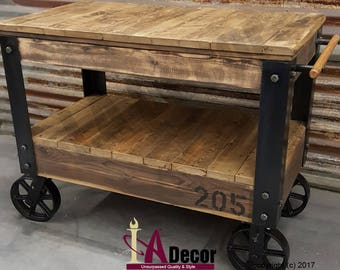 Genial Cart Table Or Cart Island Factory Cart Table With Large Wheels Reclaimed Wood  Table Reclamed Wood Cart