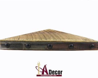 Thick Reclaimed Wood Corner Shelf With Metal Accent And Extra Large Nail Heads Floating Barn Rustic