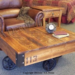 Rustic Handmade Industrial  Factory Cart Coffee Table