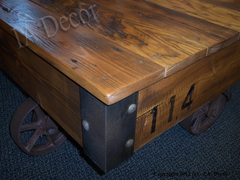 Factory Cart Coffee Table Reclaimed Wood   Cart Style Coffee Table    Industrial Loft Living Caster Table