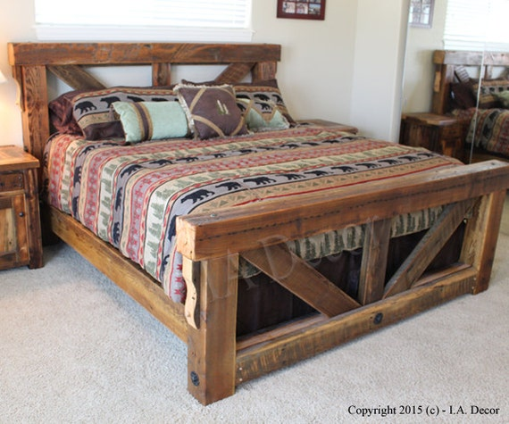 Timber Frame Trestle Bed Rustic Bed Big Timber Bed Queen Etsy