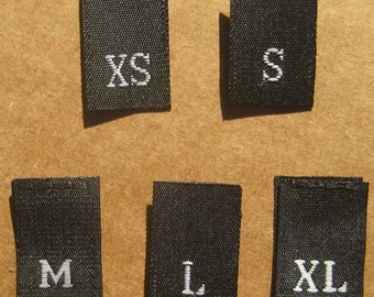 50 PCS WOVEN CLOTHING LABELS BLACK WITH RED LOVE HEART