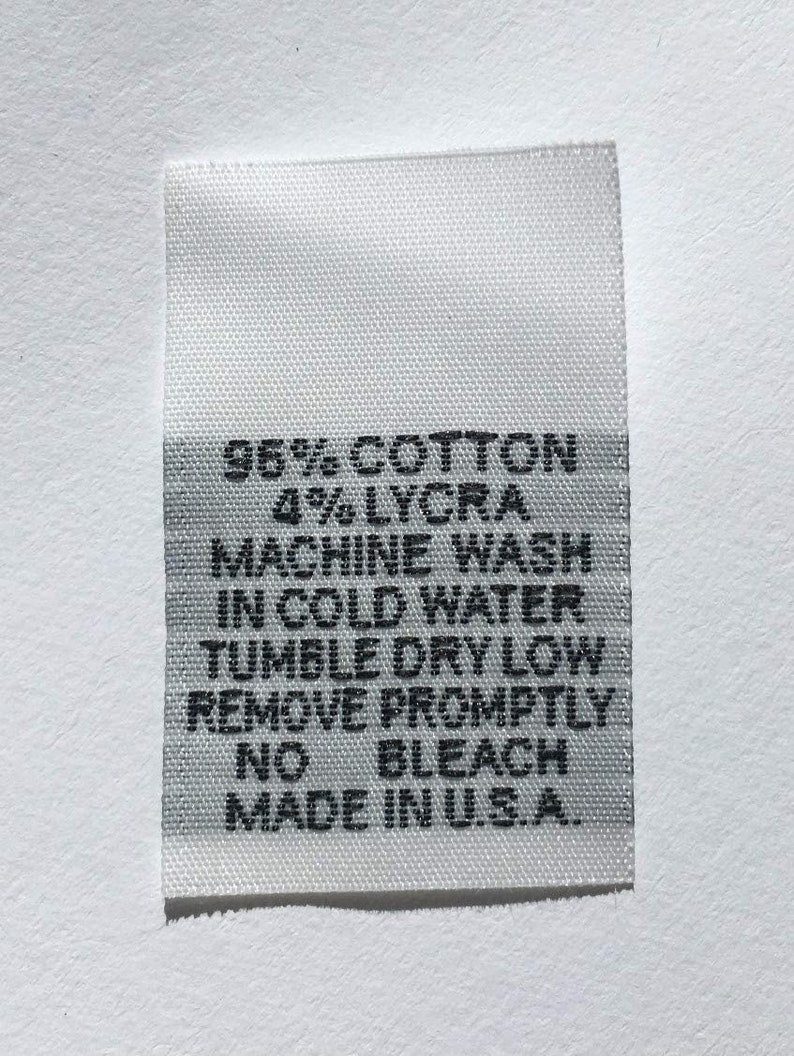 25Pcs White Taffeta Woven Clothing Letter Size Tab Tag Label Number 6 SIX