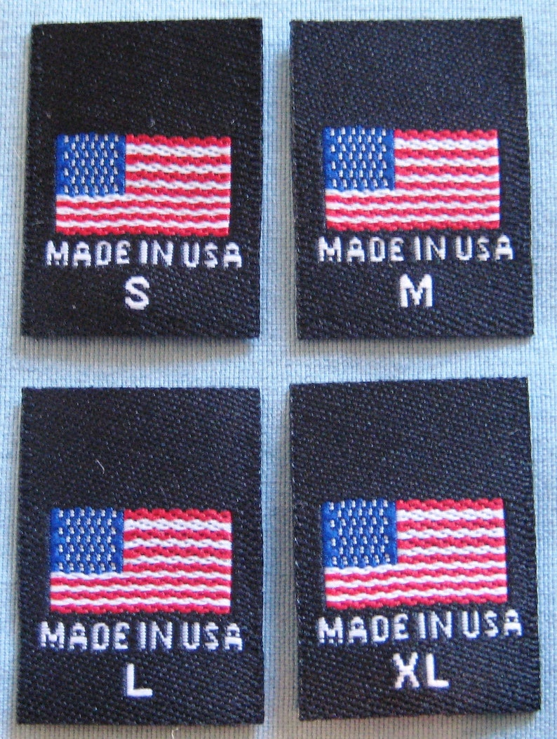 3f45b3aa035b 100 pcs Black American Flag - Made in USA, Red White & Blue Woven Clothing  Labels S M L XL
