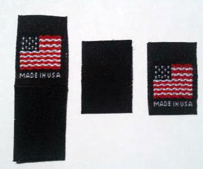10749863f0a7 100 pcs Black Folded American Flag - Made in USA, Red White & Blue Woven  Clothing Labels