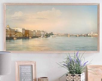 City art Wall decor St Petersburg print, Panoramic Long wall art 16 20 x 40