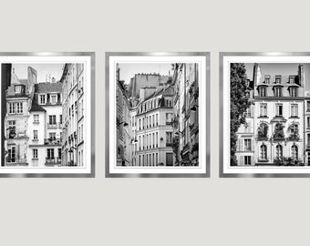 Black and white Paris prints wall art set of 3 Large wall art Paris photography Architecture print set Vertical Triptych living room decor