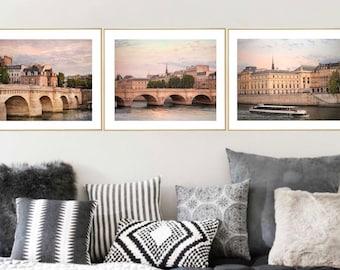 Paris City art Print set 3 piece Wall art, Travel Prints Gallery wall set Parisian Decor, Cityscape art 16x20 11x14 Triptych Pont Neuf