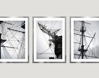 Nautical wall art set of 3 prints Sailboat art Large Black and white photography set Large wall art minimalist Vertical Triptych Mens gift