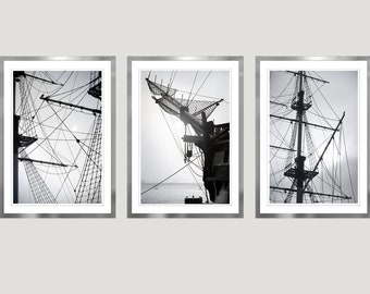 Ship Print Set of 3 piece Large wall art Triptych, Sailboat art for men Apartment Nautical decor