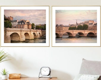 Paris Set of 2 piece wall art, Oversized City prints Architecture photography, Diptych Gallery wall set Pont Neuf 16x20 11x14