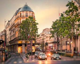 City art print Paris Street scene, Parisian Cityscape photography, Large wall art Living room decor 18x24 20x30