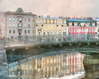 European city print St Petersburg Architecture art, Oversized cityscape artwork Large wall art Water color decor 12 x 16 20 24x30