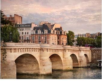 Paris Architecture print City art Pont Neuf, Large wall art Cityscape photography 11x14 16x20 Parisian Apartment decor
