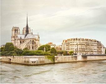 Notre Dame de Paris photography Landscape print, Large wall art City art poster, Parisian French decor 12x16 24x30 30x40
