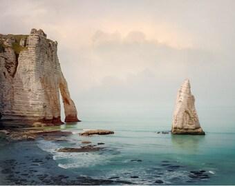 Sea Landscape photography, Coastal wall art Teal Seascape print, Etretat Cliffs France beach prints 11x14 16x20