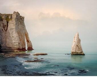 Large Coastal wall art for Men, Seascape prints Beach Landscape photography, Etretat Rock Cliff art Oversized Nautical decor 16x20 24x30