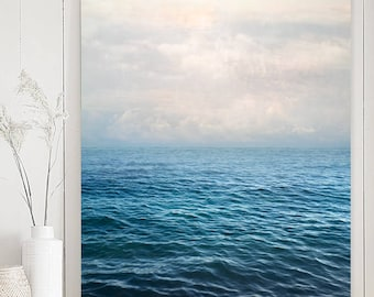 Sea print, ocean photography, oversized art, vertical seascape art print, blue water large wall art poster, gift for men, 18x24, 24x30