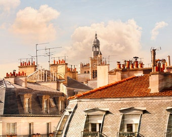 Paris Rooftops print Architecture art, French city photography Extra Large wall art Oversized poster 30x40